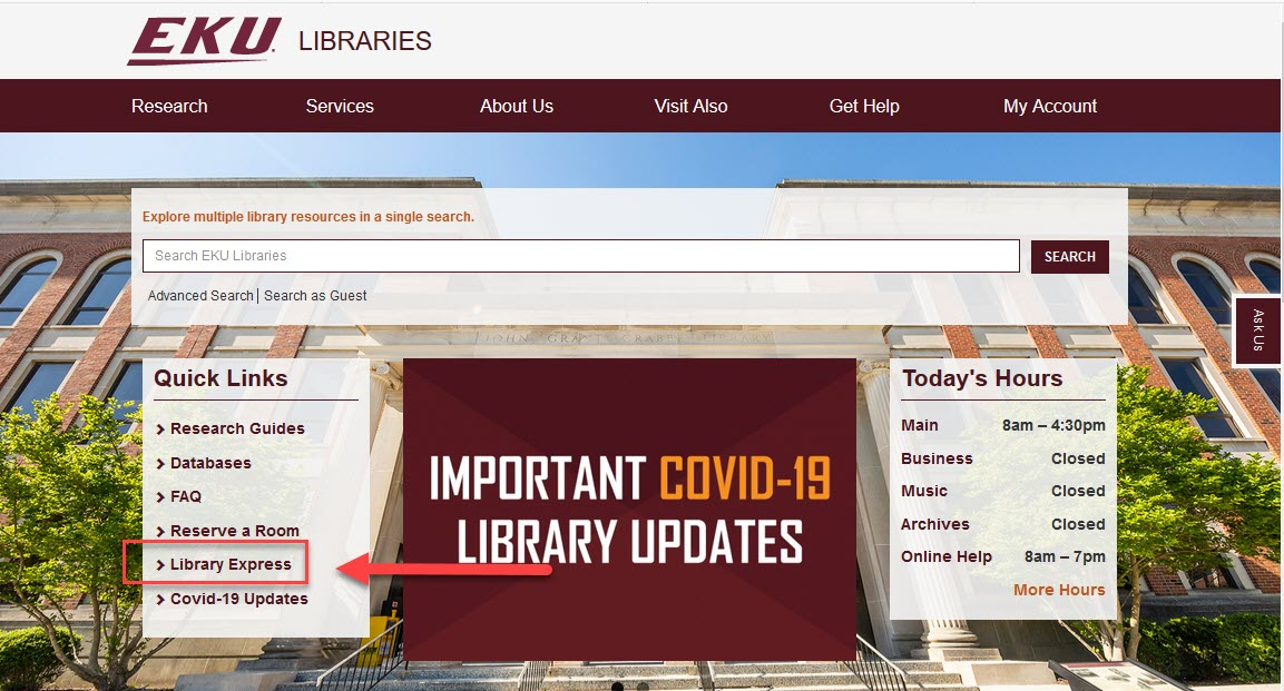 library homepage with arrow pointing toward Library Express link