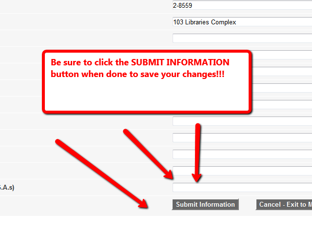 Submit button at bottom of the form highlighted