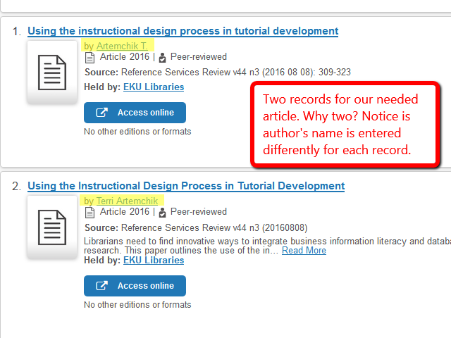 Image showing the search results with two different records for the same article