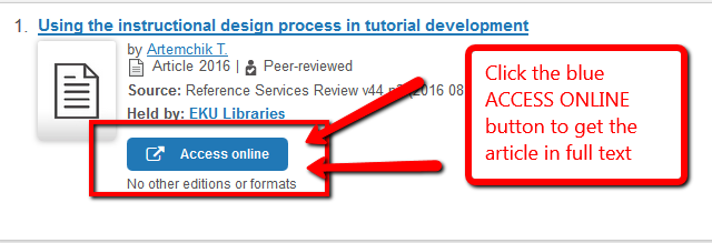 """Image with arrows highlighting the blue """"access online"""" button to access and get the article in full text"""