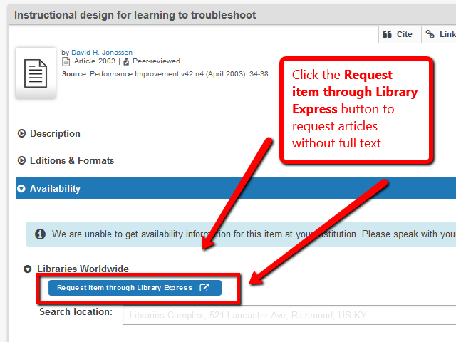 Image highlighting the Request item through Library express button to access articles when there is no full text in the library search