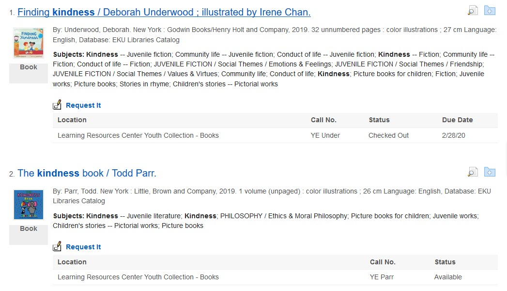 Search results showing books on kindness in the Learning Resources Center print collection