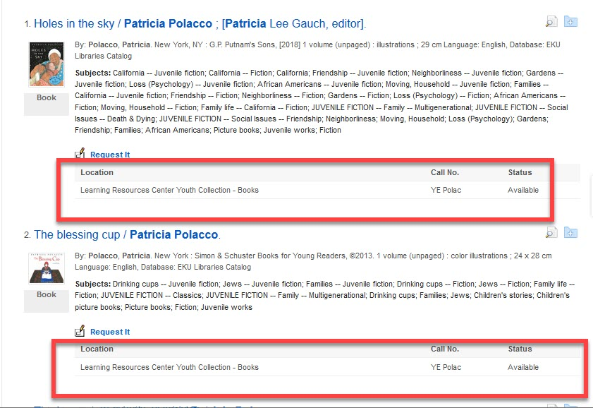 Book Results with Patricia Polacco as author highlighted