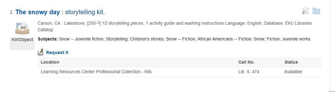 Search results with a result for a storytelling kit highlighted