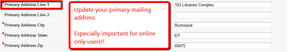 Primary address form entry highlighted