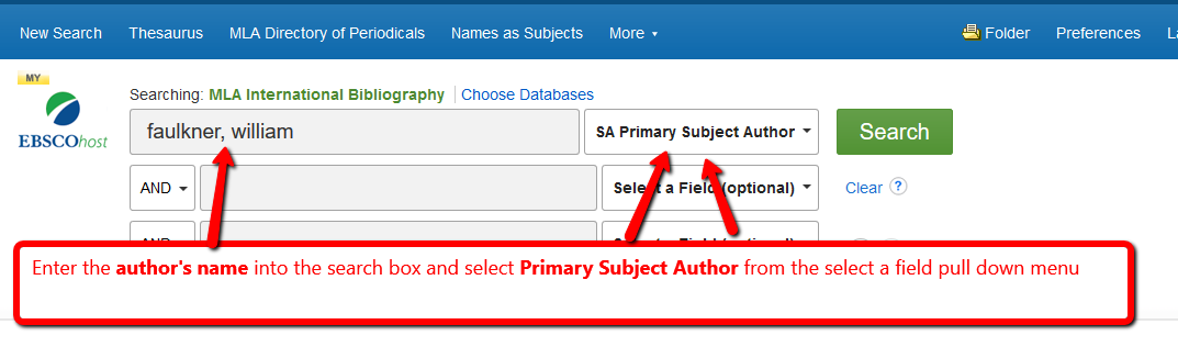"""MLA International Search Screen with """"Primary Subject Author"""" in select a field"""