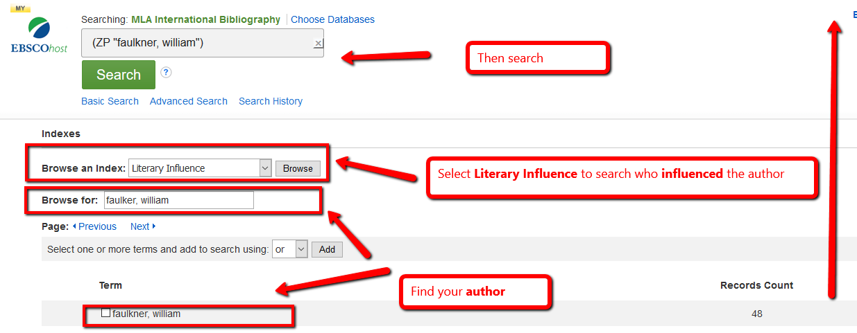 Literary influence search in MLA International Bibliography