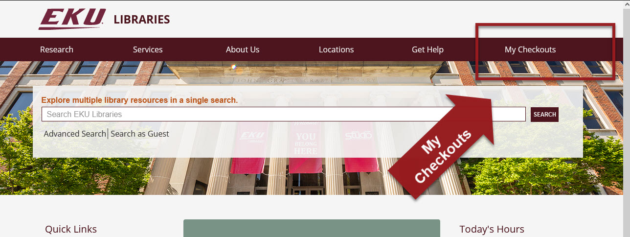 Library homepage with my checkouts link highlgihted