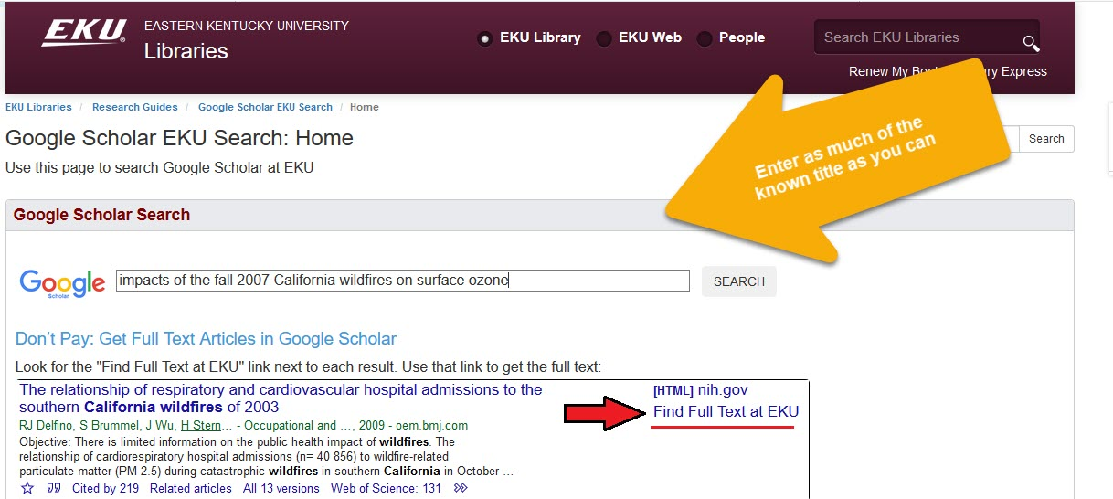 Google scholar search screen with article title entered into search box
