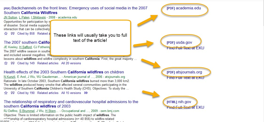 Google scholar search results screen with PDF links circled