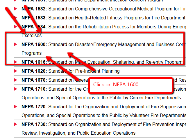 NFPA 1600 in list of codes