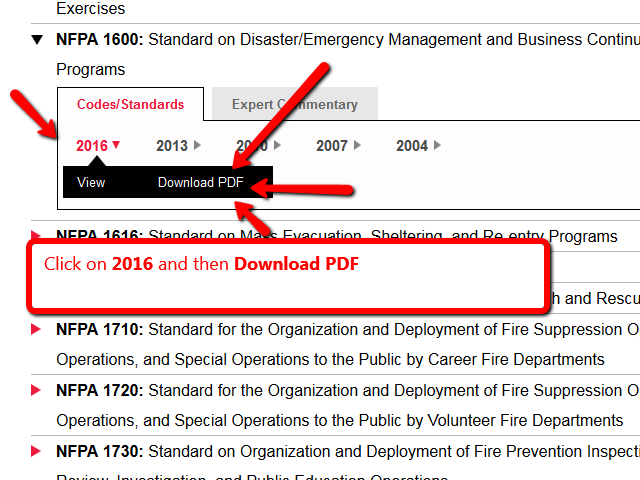 Download PDF for NFPA 1600