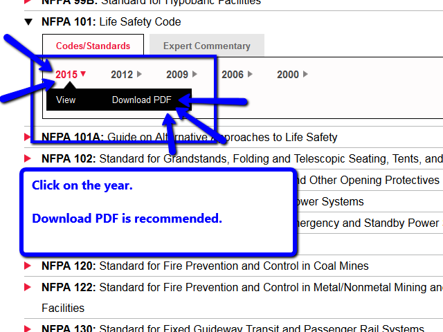 To access the actual code, click on the year.  Then selecting Download PDF is recommened.