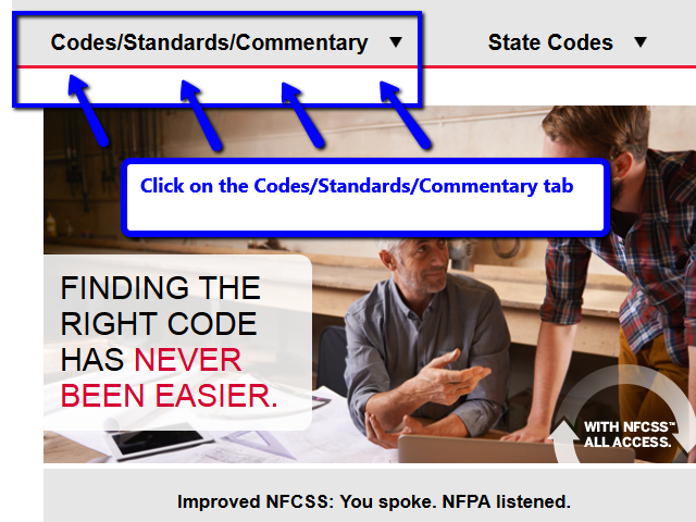 Click on the Codes/Standards/Commentary tab once in the National Fire Codes database