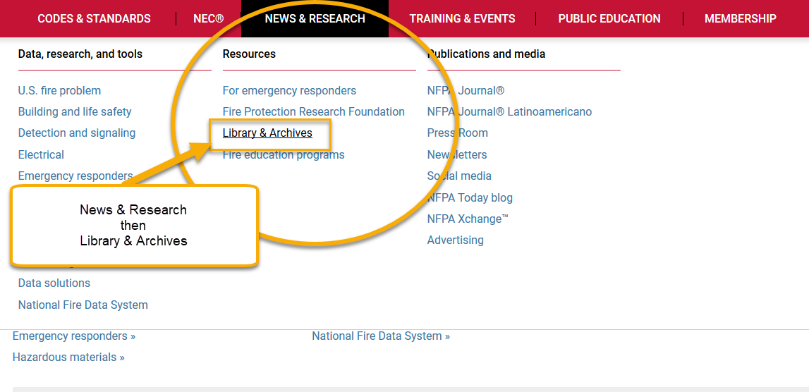 News & Research menu highlighted on www.nfpa.org
