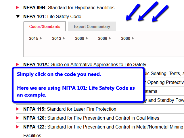 Click on the code you need in the list.  Image uses NFPA 101 as an example.