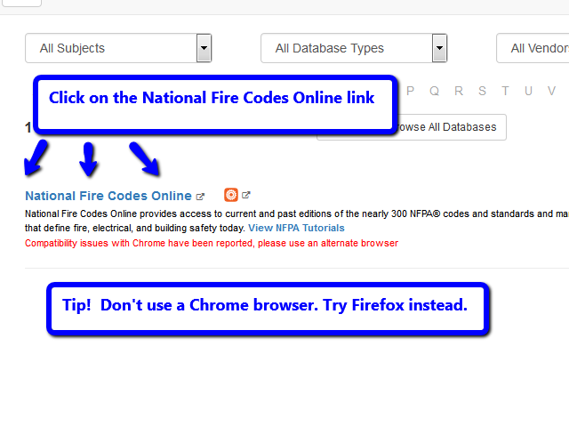 Arrows pointing to text that reads National Fire Codes instructing users to click on it.