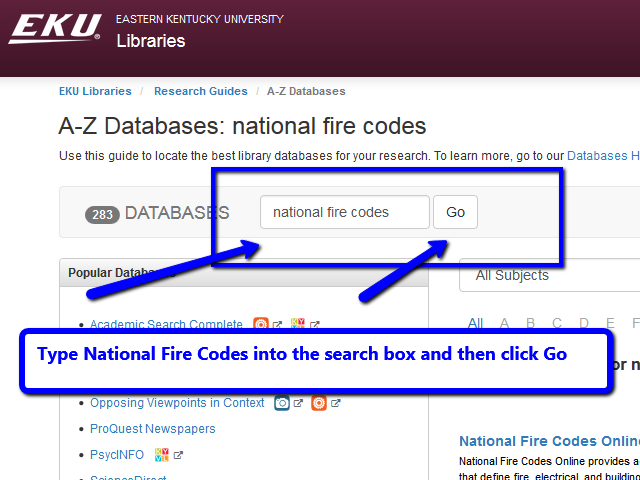 List of databases and National Fire Codes is entered into the search box.