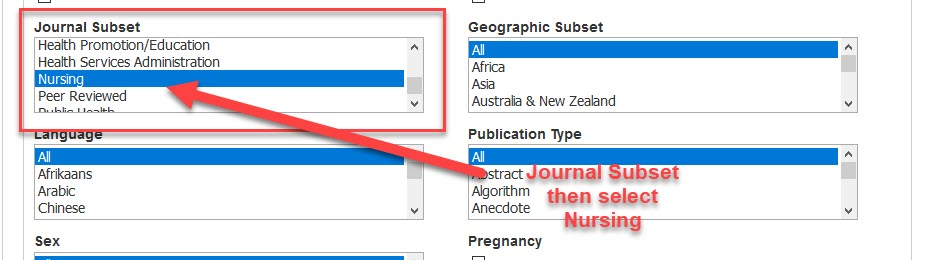 Cinahl database screen with Journal Subset Limiter highlighted