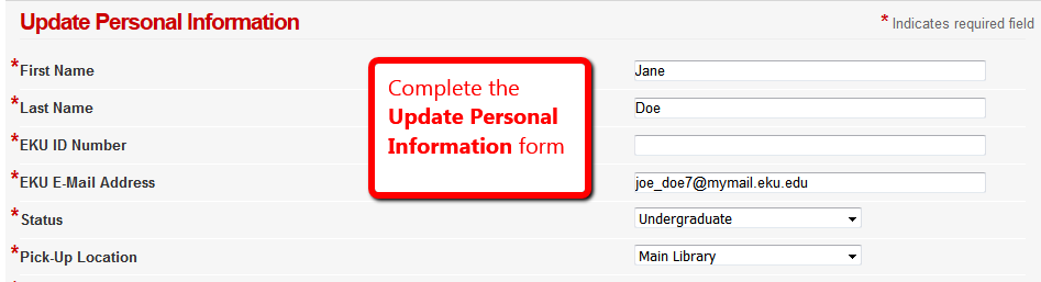 Update Personal Information form in the Library Express/Illiad software