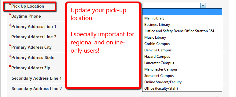 Multiple pick-up locations on campus, distance and online highlighted