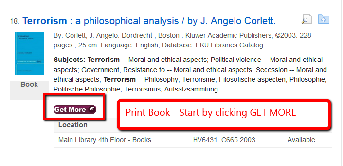 EDS search results with a print book holding record. The GET MORE button is highlighted.