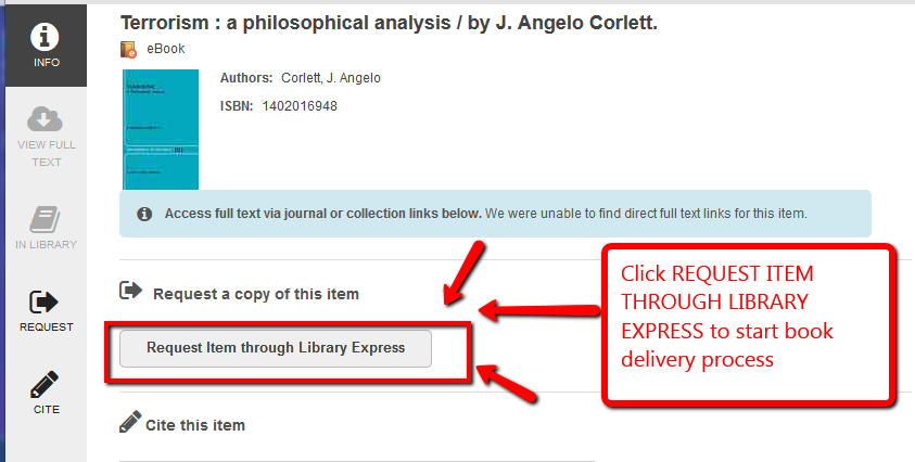 "Book holdings record with ""Request Item Through Library Express"" highlighted"