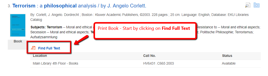EDS search results with a print book holding record. Find Full Text link is highlighted.