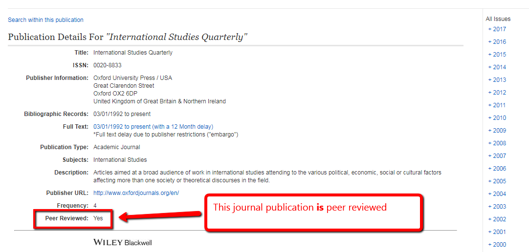 A journal publications screen with a highlight box around information about peer review.
