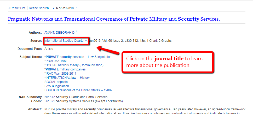 Detailed record screen for an article with the clickable journal title highlighted