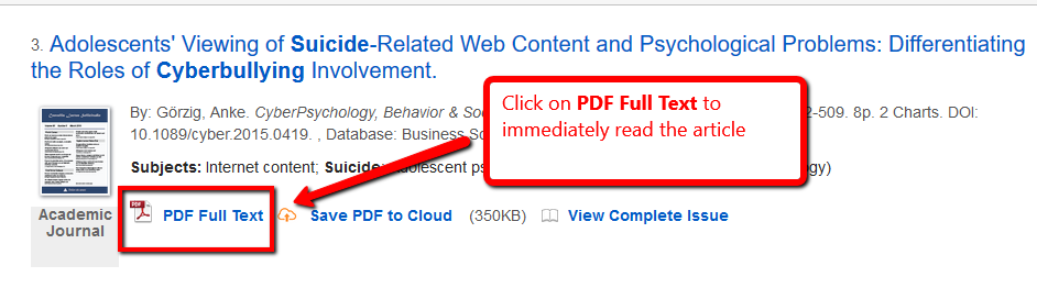 PDF FULL TEXT link highlighted in an EDS Search screen