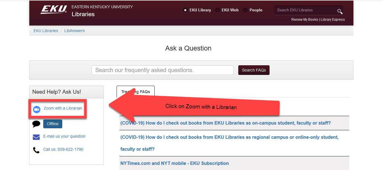 """Ask US FAQ search page. The """"Zoom with a librarian"""" link located in the upper left is highlighted"""