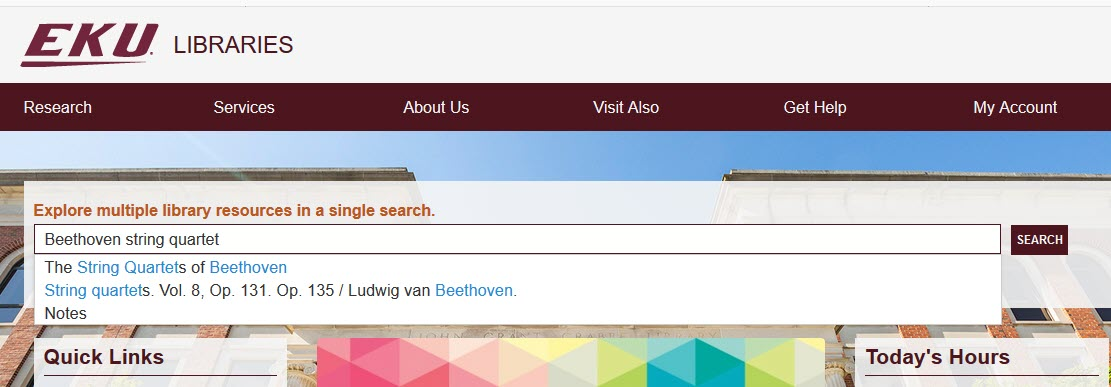 """Library homepage with """"Beethoven string quartet"""" in search box"""