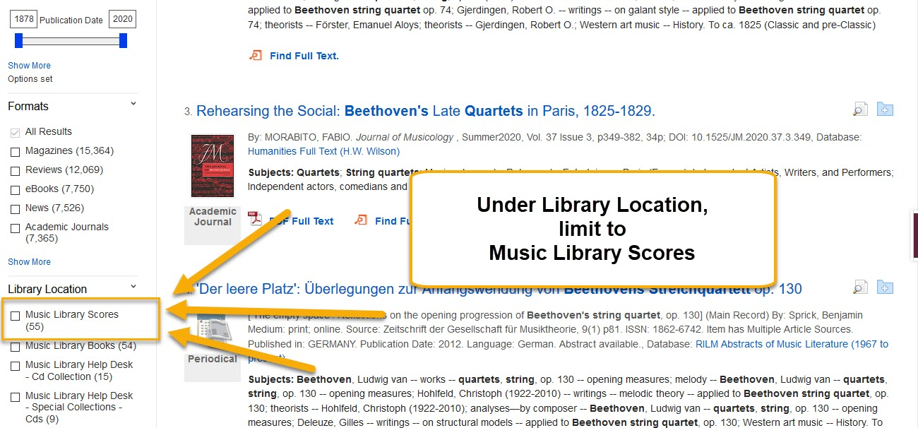 Library search results with location of Music Library scores highlighted