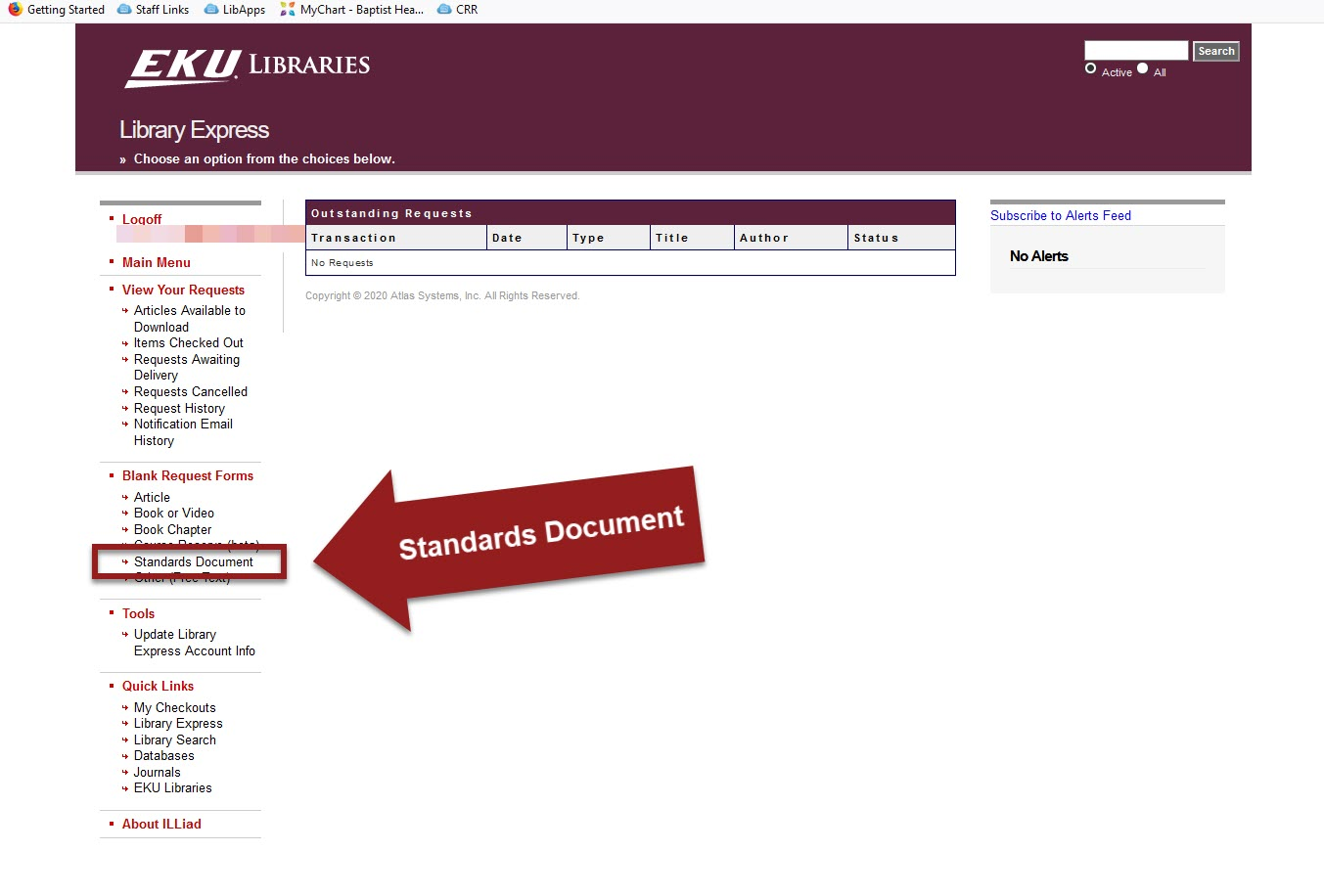 """Library Express account with """"Standards Document"""" highlighted under Blank Request Forms"""