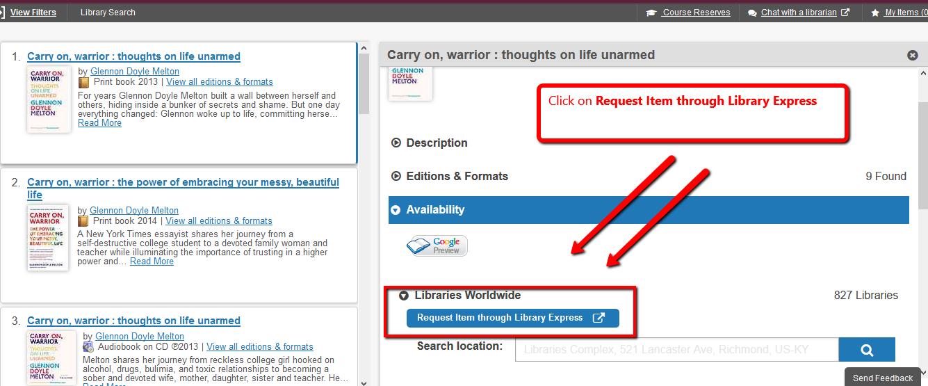 """Request Item through Library Express"" blue button highlighted in book record for ""Carry On, Warrior"""