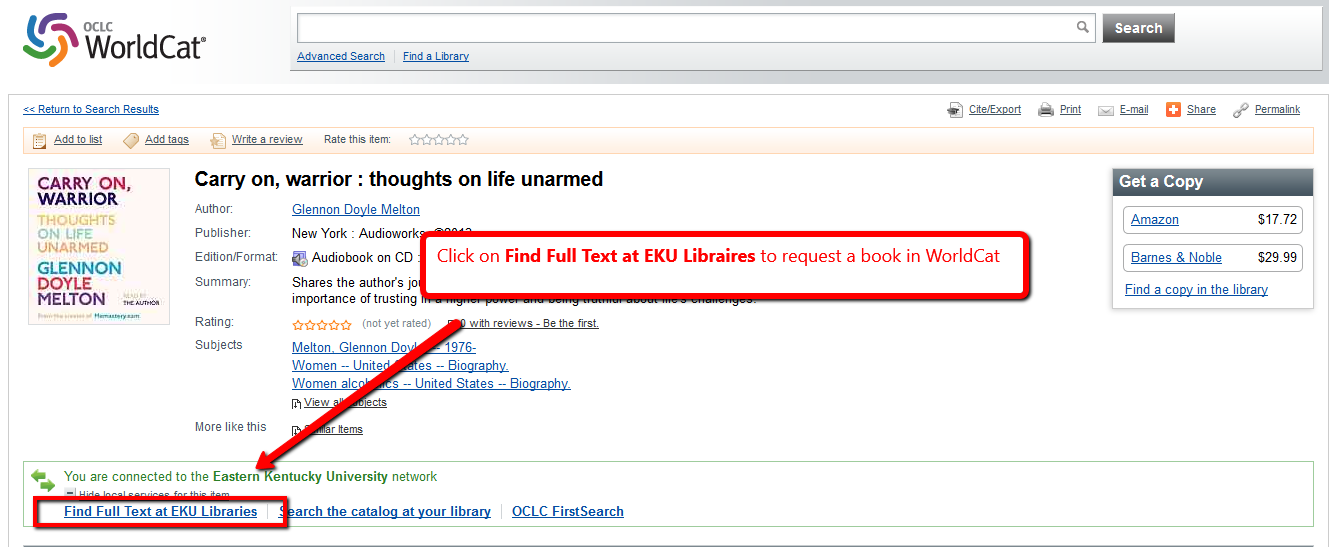 "WorldCat.org search results for book ""Carry On, Warrior"" with box around the ""Find Full Text at EKU Libraries"" link"