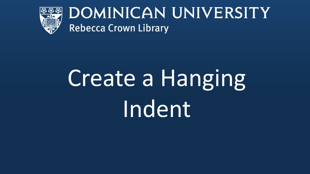 Create a Hanging Indent video