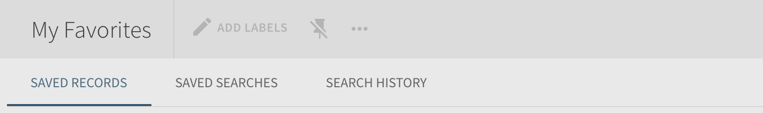 Search History and My Favorites options and tabs