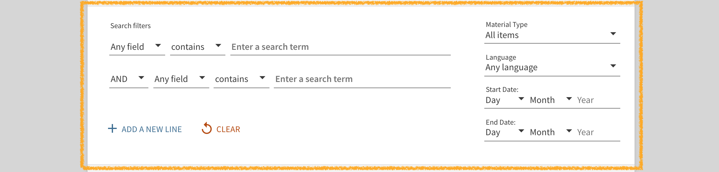 UC Library Search Advanced Search filter menu search fields