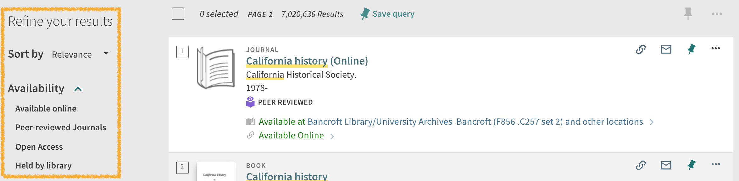 UC Library Search Refine Your Results left side navigation menu