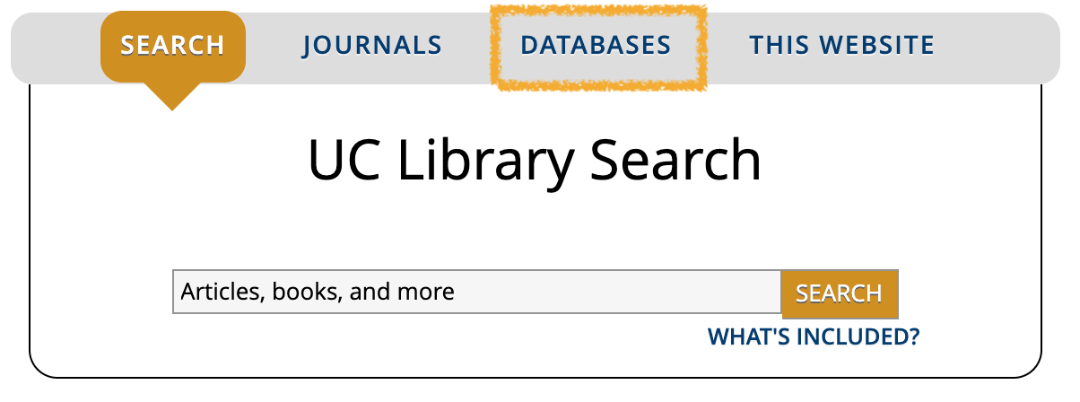 UC Library Search box on library homepage