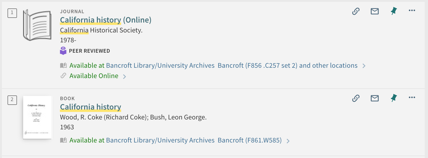 UC Library Search item results