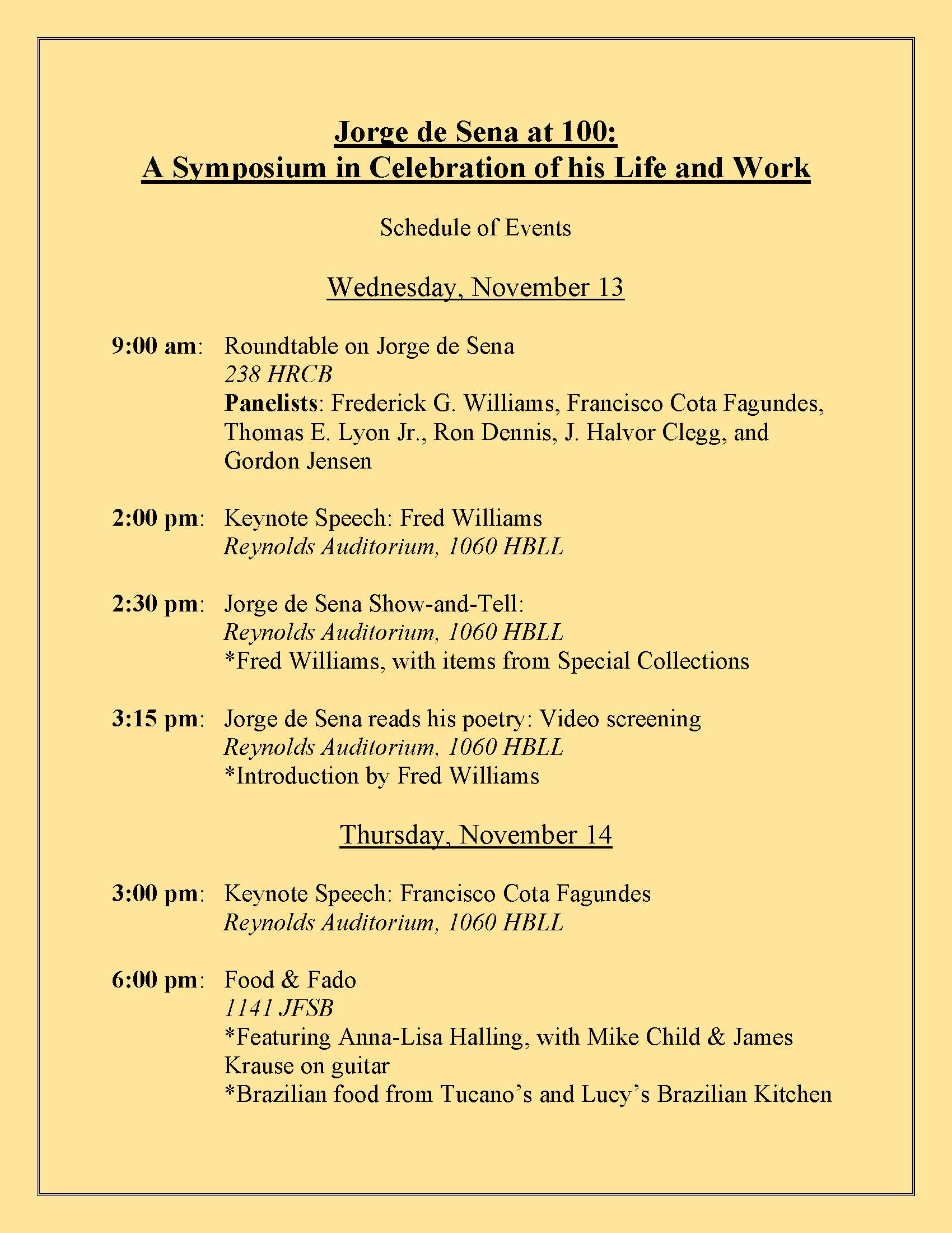 Jorge de Sena Symposium Schedule of Events