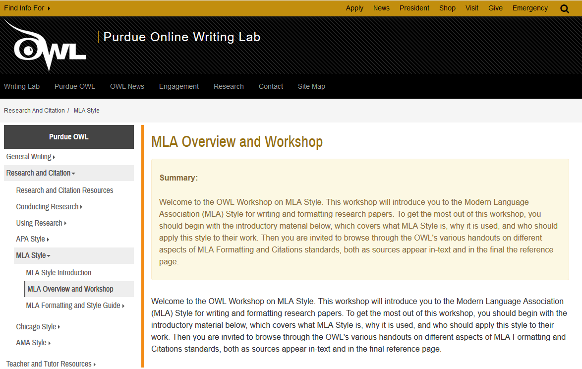 Screenshot of OWL Purdue's MLA website.