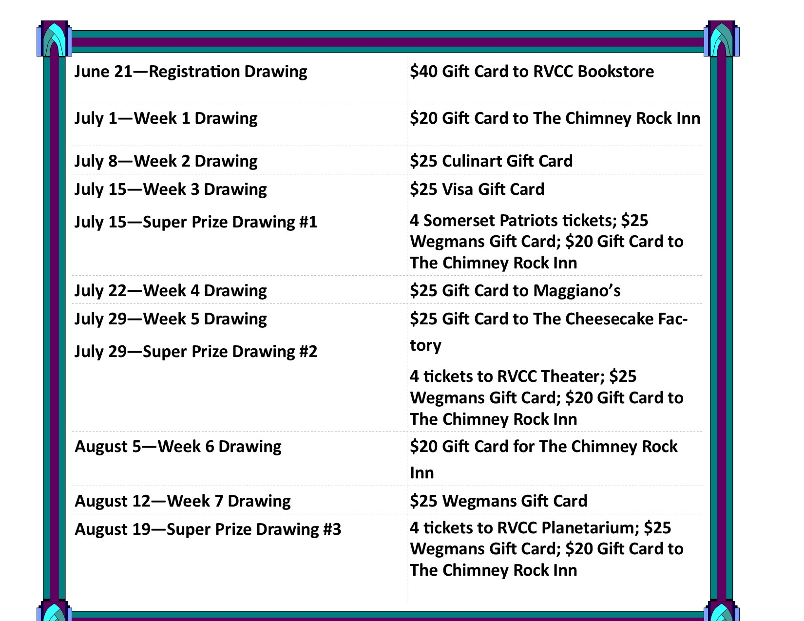 Schedule of weekly prize drawings, call the library for details at 9082188865