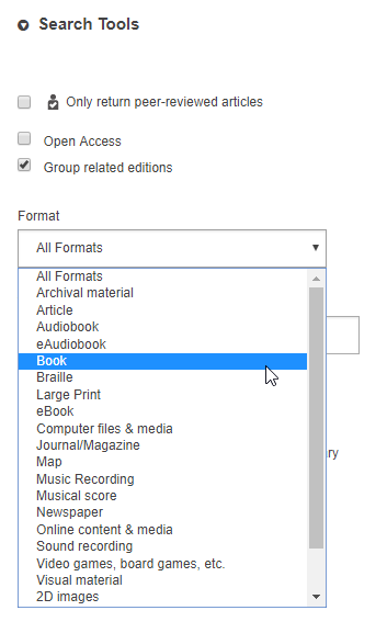Choose the Book Format under Search Tools on the Advanced Search page