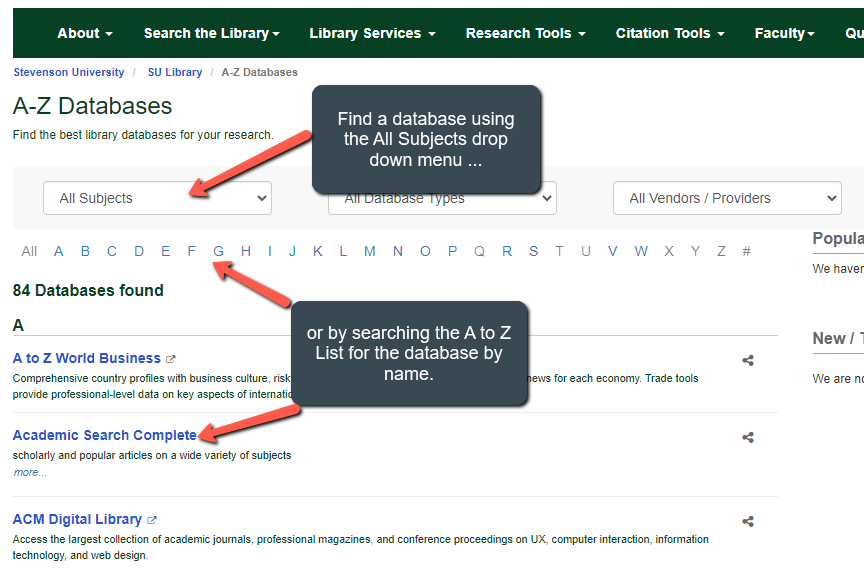 use the database by subject drop down or search the a to z list to find a database by name