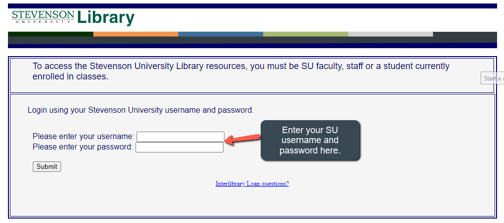 enter your SU username and password to access the database