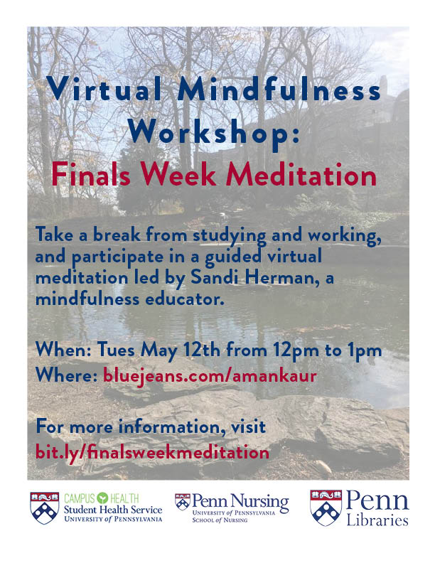 Finals Week Meditation will be held on Tuesday May 12th at 12pm. Learn more at bit.ly/finalsweekmeditation
